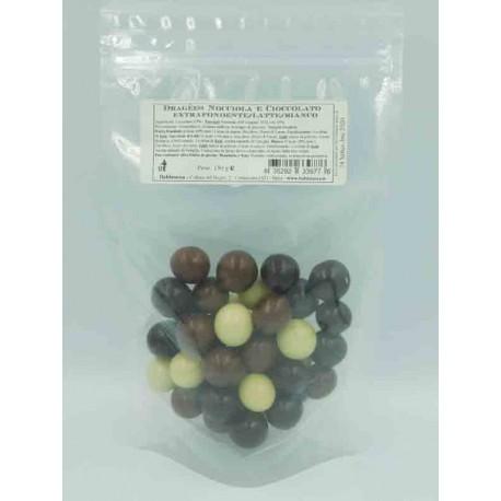 Hazelnut and Chocolate Dragees - Mixed sachet 150 g